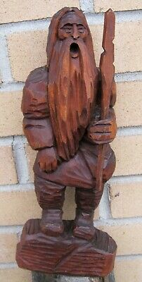 "Early Rubezahl Black Forest Carved Wood Mountain Troll Figural Statue 13.5"" Tall"