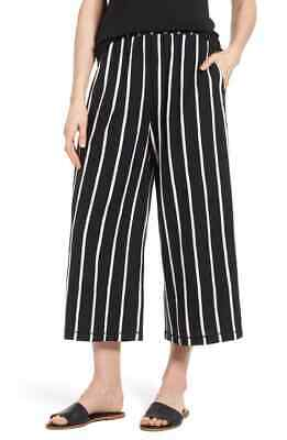 Eileen Fisher Womens Pants Black Size Small S Wide Leg Striped Stretch $168 925