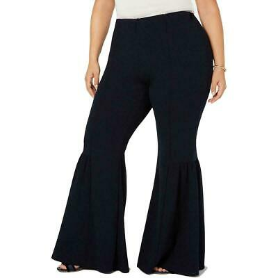 NY Collection Women's Pants Black Size 2X Plus Flared Leg Stretch $54 370