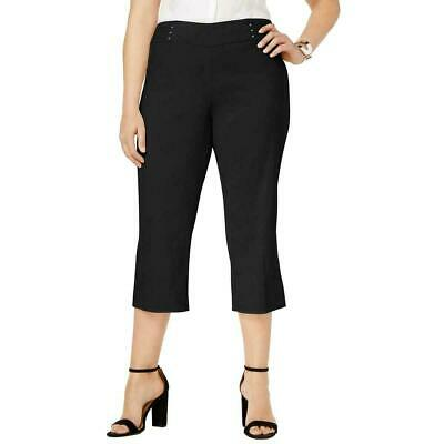 JM Collection Womens Pants Black 2X Plus Capris Tummy Control Stretch $59 379
