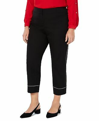 Alfani Womens Pants Black Size 18W Plus Ankle Contrast Piped Stretch $79 281