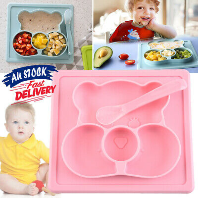 Divided Bowl Food Tray Placemat Silicone Suction Table Baby Toddler Plate Mat