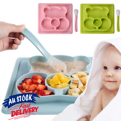 Food Tray Divided Bowl Silicone Suction Table Toddler Placemat Baby Plate Mat