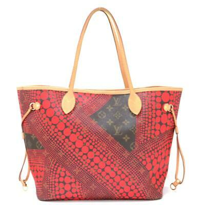 LOUIS VUITTON Yayoi Kusama Neverfull MM Tote Bag M40686 Monogram Wave Brown Red