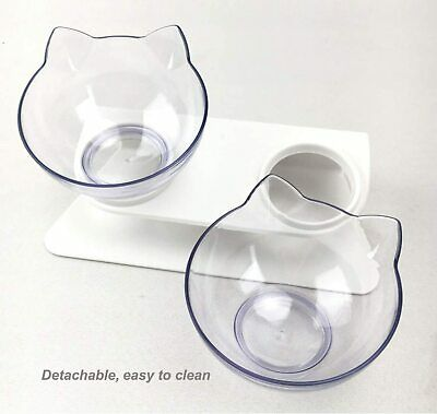 Transparent Pet Double Cat Bowls with Raised Stand 15° Tilted Platform