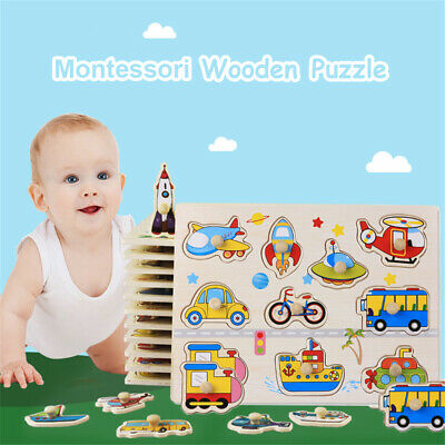 Baby Kids Wooden Puzzle Toddler Animal Alphabet Letters Jigsaw DIY Learning Toys