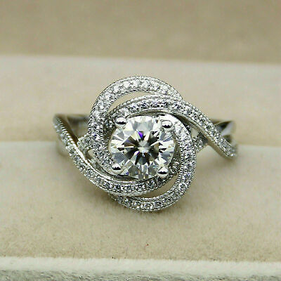 2.00 Ct Round Cut VVS1 Diamond In 14K White Gold Over Cluster Wedding Band Ring