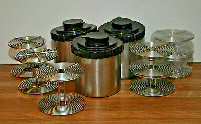 Lot of 4 - 35mm, 2 - 120 and 1 - 240 SS Film Developing Reels Plus 3 Tanks,16 pc