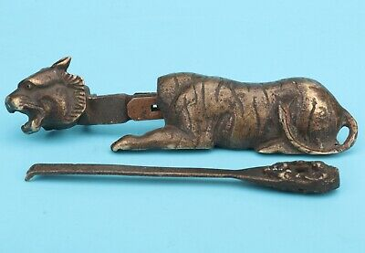 Chinese Bronze Statue Lock Solid Tiger Mascot Decora Gift