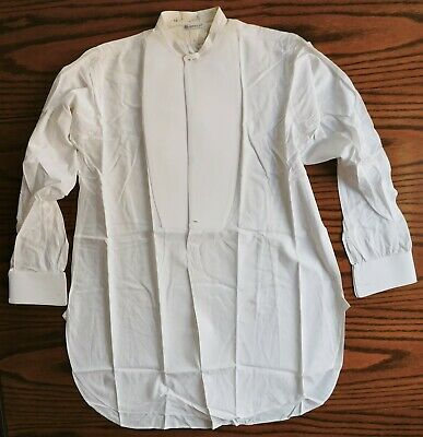 Gieves tunic shirt size 14.5 starched vintage mens formal dress NEEDS REPAIR