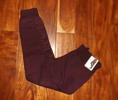 CALVIN KLEIN Womens Jogger Sweat Pants Burgundy Lounge Sz S Small $49 NWT