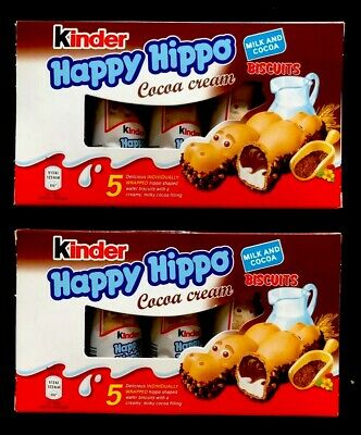 KINDER HAPPY HIPPO COCOA CREAM BISCUITS WITH COCOA & MILK FILLING 2 x 5 PACK UK