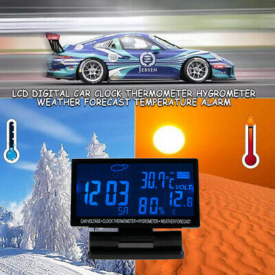 Large LCD Digital Clock Thermometer Temperature Auto Car Meter Gauge DC 12V 4in1