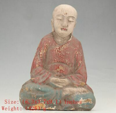 Buddhist Chinese Wood Statue Monk Spiritual Old Hand-Carved Collection Gift