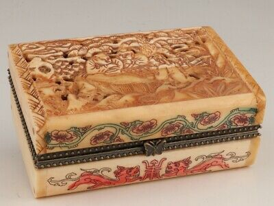Cattle B0Ne Hand-Hollowed Out Carving Party Statue Box Practical Collection