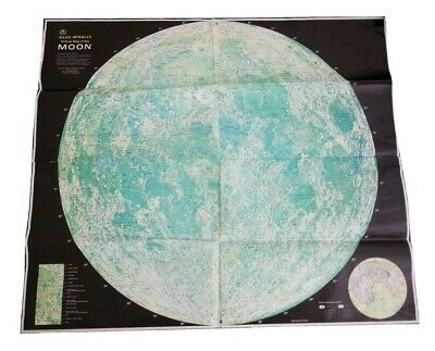 Vintage Rand McNally & Co. Official Map of the Moon 28x24 Tasco