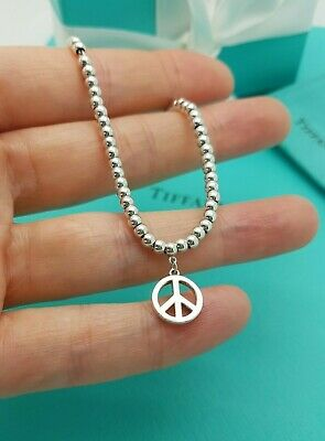 Authentic Tiffany & Co 3mm Ball Bead 7 Inches Silver Bracelet With Peace Charm