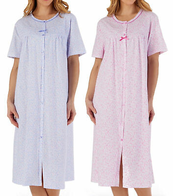 Button Front Hospital Gown Patient Nightdress Jersey Cotton Long Sleeve Nighty