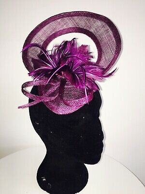 Purple Fascinator On Hair Comb Weddings Christenings Ladies Day Ascot
