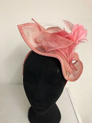 Pink Feather Fascinator On Headband Weddings Christenings Ladies Day Ascot