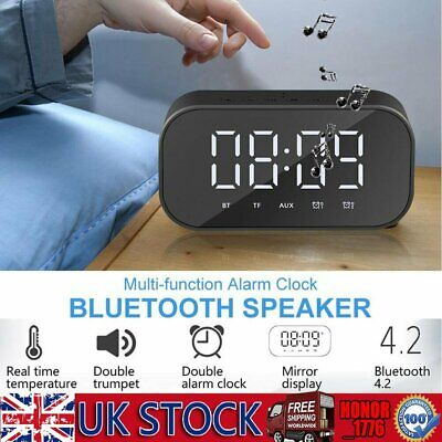 LED Digital Alarm Clock Temperature  Mirror FM Portabel Bluetooth Speaker TF AUX