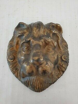 Antique Bronze Brass Lions Head Door Knocker No Handle Vintage Old Early