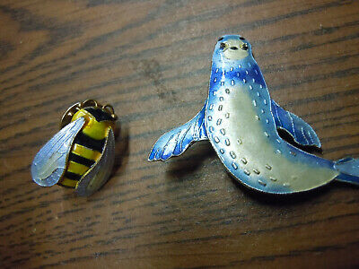 Lot Of 2 Sterling Silver Enamel Bee Hornet Seal Sea Lion Unique Brooche Pins