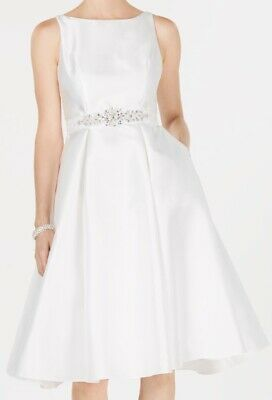 Adrianna Papell Womens Dress White Size 12 A-Line Embellished V-Back $179- 002