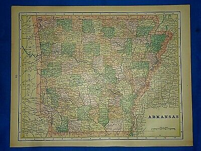Vintage 1894 MAP ~ ARKANSAS ~ Old Antique Original Atlas Map