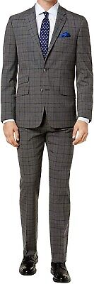 Ben Sherman Mens Suit Gray Size 44 Short Stretch Slim-Fit Two Button $650 247