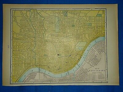 Vintage 1894 MAP ~ CINCINNATI, OHIO - OHIO RIVER Old Antique Original Atlas Map