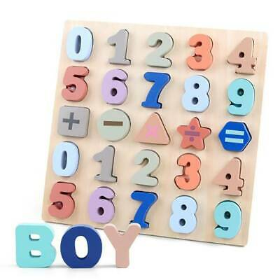 Wooden ABC Letters Alphabet 123 Numbers Animal Children Education Toy LC