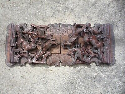 Antique 19th Cent Black Forest Carved Wood Book Stand Fox Pheasant Hunt Germany