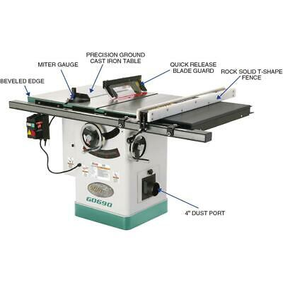 Grizzly G0690 220V 10 Inch 3HP Cabinet Table Saw with Riving Knife