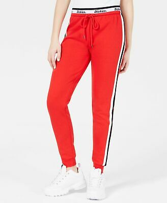 Dickies Womens Pants Red Size XS Jogger Logo-Band Side-Stripe Stretch $69 484