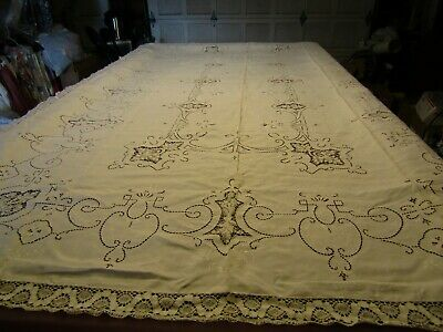 "Antique Madeira Ivory Color Hand Embroidered & Cut Work 122"" x 74"" Tablecloth"