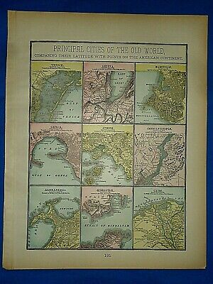 Vintage 1894 MAP CITIES of the OLD WORLD - VENICE - CAIRO Old Antique Original