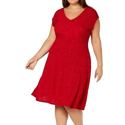 NY Collection Womens Dress Red Size 1X Plus A-Line Shimmer V-Neck $70 037