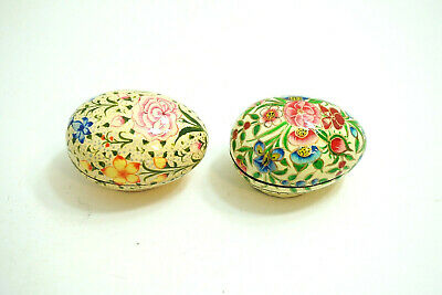 Lot Of 2 Vintage Russian Folk Art Wood Painted Lacquer Easter Eggs Trinket Boxes