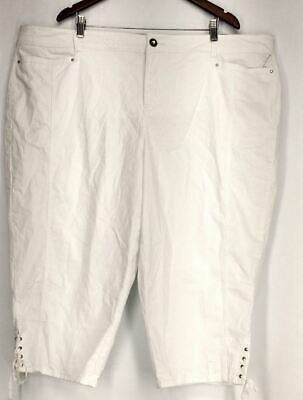 Style & Co. Plus Size Pants 24W Tummy Control Capri White Womens
