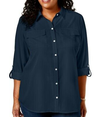 Charter Club Womens Blouse Navy Blue Size 2X Plus Button Down Roll Tab $69 090
