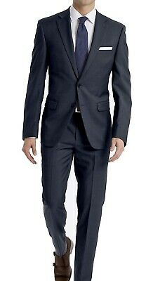 Calvin Klein Mens Suit Blue 44 2 Piece Two Button Wool Notch-Collar $600 224