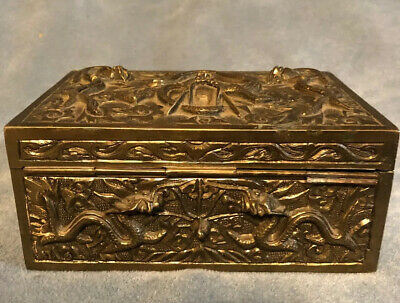 Antique Bronze Chinese Dragon Motif Trinket Box