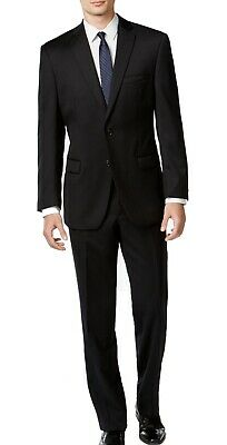 Calvin Klein Mens Suit Deep Black Size 44 Two Button Wool Slim Fit $369 179