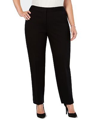 Alfani Womens Pants Black Size 22W Plus Dress Slim Tummy Control Stretch $84 544