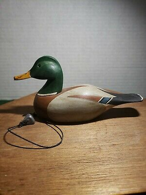 Hand Carved Wooden Mini Mallard Duck Decoy Or Decoration Hand Painted.
