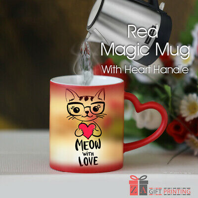 Personalized Red Magic Mug Cup With Heart Shape Handle And Heat Color Changing