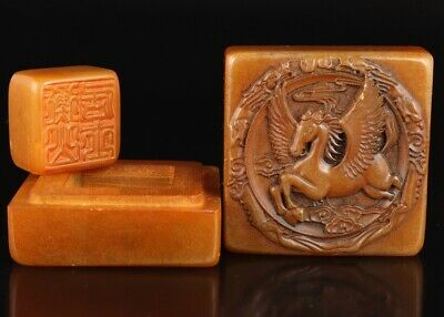 Rare China Shoushan Stone Box Hand-Carved Tianma Decoration Collec Old