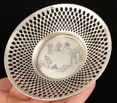 Unique China Silver-Plated Copper Decorative Plate Hollow-Out Old Decorative