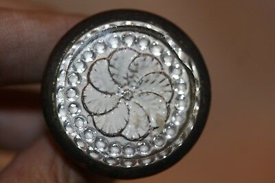 Victorian Sulfide Nail Head Covers Picture Nail Screw Hanger Flower Clear & Whit